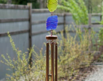 Wind Chime Sea Glass Beach Glass Stained Glass Copper Outdoor Windchime