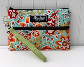 Padded Wristlet Mini Purse- Ikat Paisley