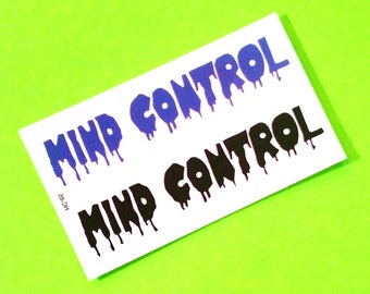 Mind Control Bleeding Letters Classic Contemporary Words Text Repeat Mix Sheet Black and Navy Blue Temporary Tattoo