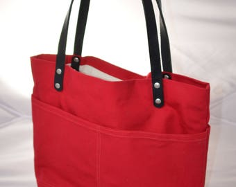 The Oakley- Red Canvas and Black Leather Strap Handbag