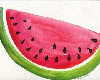 Watermelon watercolor painting original, watercolor art 4 x 6 painting watermelon illustration, kitchen art decor, illustration