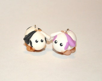 Cow Keychain Cute Animal With Black or Lilac Spots