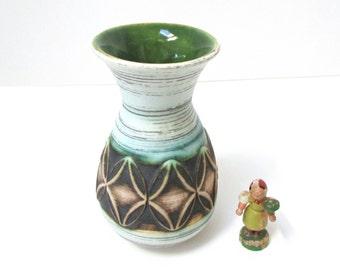 "Jasba Vase 5"" Green & Blue Boho Home Decor Pop Art Ceramic Flower Vase 1960s Scheurich Art Pottery Drip Glaze WGP Midcentury West Germany"