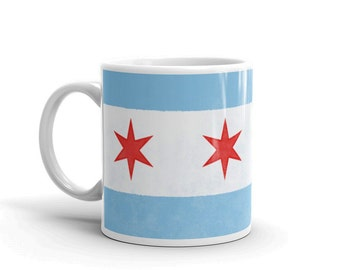 Chicago Flag Coffee Mug- Coworker Gift- Chicago Flag Mug- 11oz Chicago Mug- Chicago Gifts- Gift for Dad- Gift for Mom