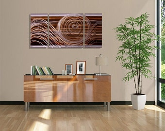 Modern Multi Panel Metal Wall Art In Brown & Silver, Abstract Wall Painting, Home Decor, 3 panel piece - Encompass The Soul III by Jon Allen
