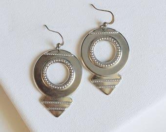 SALE . cherokee // gold navajo earrings . silver or gold statement earrings . navajo jewelry . navajo hoop earrings