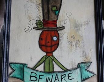 Pumpkin Head Steampunk Painting Beware Halloween Fall Burtonesque NBC style Painting