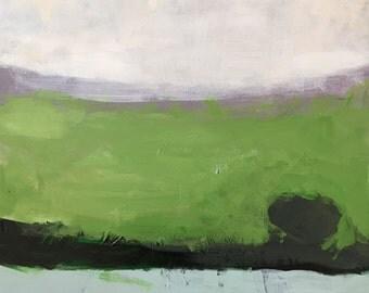 abstract landscape contemporary art, green landscape, original acrylic painting, minimalism pamela munger