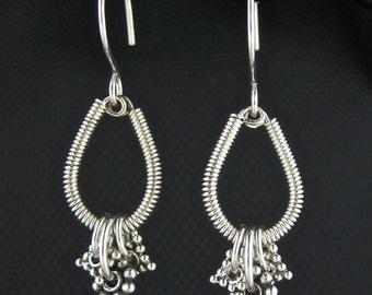 Silver Wire Wrapped Earrings, Artisan Silver Jewelry, Wired Metal Earrings, Silver Wire Wrapped Jewelry, Artisan Earrings