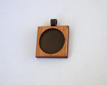 Fine finished pendant blank hardwood - Cherry and Walnut - 30 mm cavity - (F353-CW)