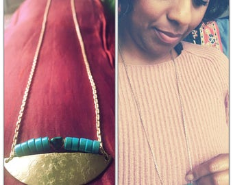 Crescent 1/2 Moon Turquoise Long Brass Statement Necklace - Geometric - Turquoise pendant necklace - Turquoise Crescent Moon Necklace -