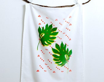 Hand Screen Printed - Tea Towel - Palm Leaf with Coral Bees - 100% Cotton