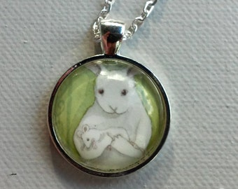 Bunny Holding a Mouse - Round Rabbit Pendant - Animal Jewelry