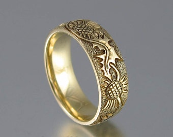 THISTLE 14K yellow gold band mens wedding ring unisex