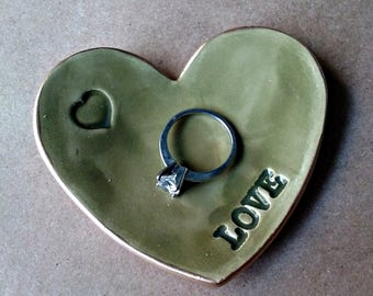 Ceramic Heart Ring Dish Sage green edged in gold
