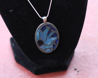 Cornflower Stained Glass Mosaic Necklace