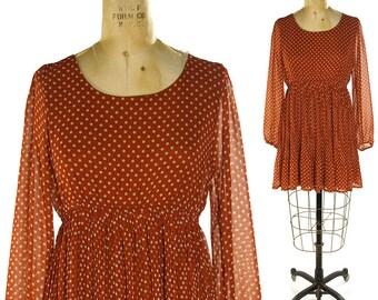 90s Grunge Polka Dot Dress / Vintage 1990s Novelty Print Boho Rocker Baby Doll Empire Waist Sheer Long Sleeve Mini Dress / Women's Medium