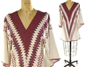 70s Chevron Bell Sleeve Sweater / Vintage 1970s Hippie Bohemian Novelty Tunic / Angel Sleeve Navajo Inspired Southwest Spacedye Blanket Knit