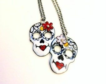 Enameled Sugar Skull necklace on silver rolo chain