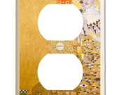 Woman in Gold - Gustav Klimt - Altered Art - Electical Plug Cover - Rich Earth Tone Colors of Gold