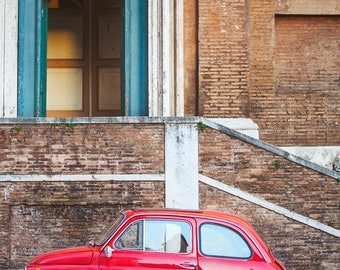 "Rome Print, Cute Red Fiat 500 Car Photo, Retro Wall Art, Urban Art, Italy Street, Boys Room Decor, Travel Photography ""Little Red"""
