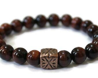 Unisex wellness Stretch Bracelet- Red Tigers Eye, Strength, Confidence, Courage, Success, Unisex, Holistic Healing, Spiritual mens stone