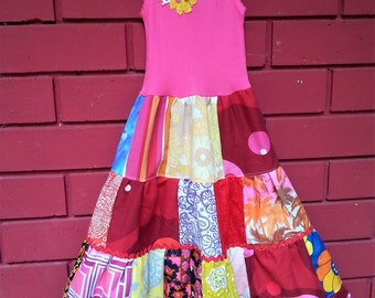 Girls Pink Love Patchwork Dress size 4-5-6
