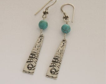 Turquoise Rustic Silver Earrings Blue Pewter Handcast Pewter Boho Pewter Artisan Jewelry Casual Earrings Matrix Turquoise