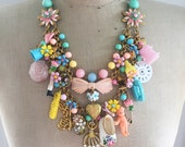 A Mother's Love - Vintage Toy Necklace, Flower, Statement, Bib - Child's Play