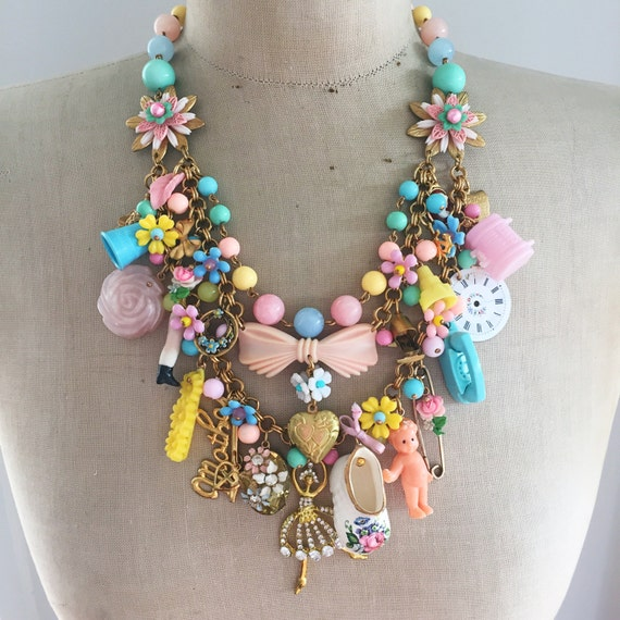 A Mother's Love Vintage Toy Necklace Flower Statement