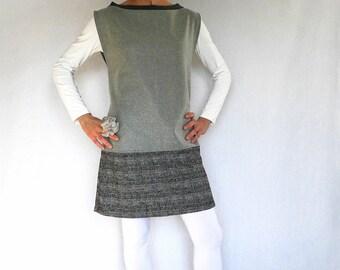 wool tunic dress, minimal gray dress, sleeveless wool dress, boxy mini dress, A-line dress, pearl gray and tartan wool