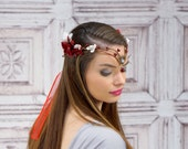 Elven Crown, Red and White, Elven Headdress, Fairy Crown, Costume Headpiece, Headdress, Flower Crown, Floral Crown, Woodland