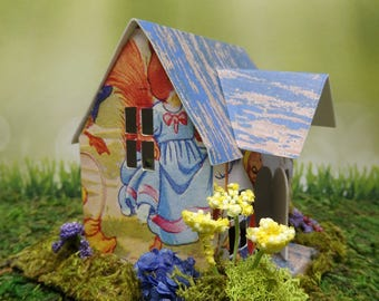 Story Book House . Spring Dance . House . Easter Bunny . Vintage Illustration . Miniature . Little House