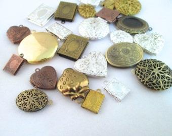 20 pc Locket pendant grab bag, mix of silver, antique bronze, copper, raw brass, Destash Sale, D241