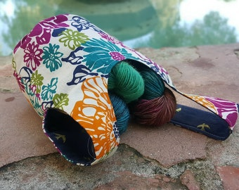Japanese Knot Bucket Bag - Small Project Bag - Multicolor Floral/Navy