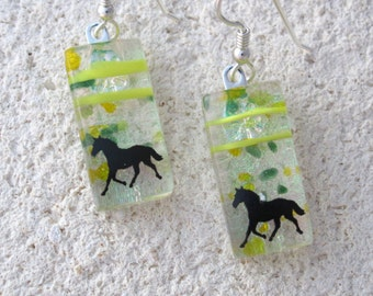 Horse Earrings, Dangle Drop Earrings, Dichroic Jewelry, Glass Earrings, Fused Glass Jewelry, Sterling Earrings, Green Earrings, 110616e103