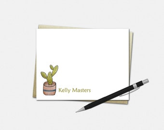 Personalized Cactus Note Cards - Set of 10 - Flat Note Cards - Gifts for Women - Cactus Gifts - Cactus Stationery