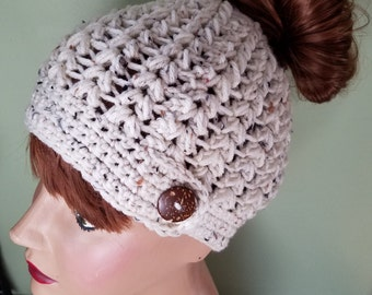 Messy Bun Adult Hat Teen Hat in Cream Tweed with Button Beanie Ponytail Hat Crochet