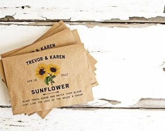Seed packets for wedding favors