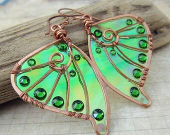 Sihaya Designs Faery Wing Earrings - Dryad - Iridescent Fairy Wing Jewelry