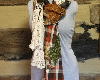 Upcycled Flannel Scarf Tattered Crochet Patchwork Scarf Bohemian Fashion Scarves with Pocket Upcycled Shirt Hippie Clothes