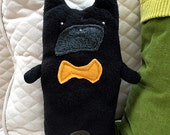 Buster ~ The Black French Bulldog Bow Tie Bummlie ~ Stuffing Free Dog Toy ~ Ready To Ship Today - Mustard Bow Tie