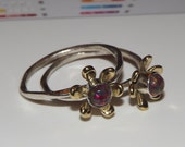 Fire Opal -SteamPunk -Garden -Geekery -Classic Film- Multi Color red - Flower -Handmade stacking Ring - Size 8.5- Mix and Match