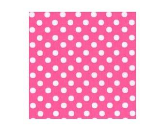HALF YARD - Lecien - Color Basic - 4506-P  White Medium Dots on PINK - Japanese Import Fabric