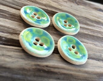 Handmade Pottery Buttons - 3 Holes - Blue and Green