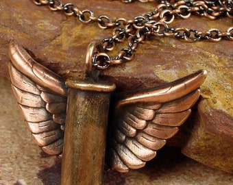 WINGS OF GLORY - .22 Cartridge Winged Bullet Shell Necklace