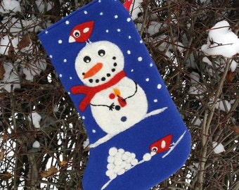 Bright blue Christmas stocking with needle felted snowman birdie birds snow snowball lantern