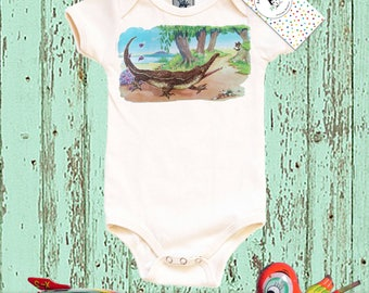 Croc One Piece, Organic Baby Bodysuit, Crocodile Graphic Shirt, baby layette, infant top, 3, 6, 12 or 18 months, long sleeve, short sleeve