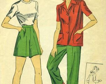 Du Barry 5637 Jacket Shorts Bust 32 VINTAGE 1940s ©1943
