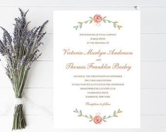 Pink Floral Wedding Invitation - Pink Wedding Invitation, Flower Wedding Invitations, Wedding Inviation, Weddings, Blush Invitation